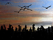 Canadian Geese Mixed Media - Departure by R Kyllo