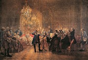 Concerts Painting Framed Prints - depicting a flute concert of Frederick the Great Framed Print by Adolf von Menzel
