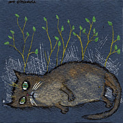 Depressed Drawings Prints - Depressed Cat Print by Angel  Tarantella