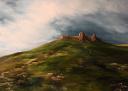 Queen Mary Painting Originals - Deralict Chartley Castle Staffordshire by Jean Walker