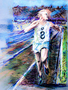 Runner Pastels Posters - Derek Ibbotson Worlds Record Holder in Mile Run Poster by Dariusz Janczewski