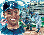 Derek Jeter Paintings - Derek Jeter 3000 Hit by Israel Torres