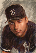 Yankees Drawings Framed Prints - Derek Jeter Framed Print by Viola El