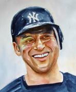  Baseball Art Painting Framed Prints - Derek Jeter Framed Print by Brian Degnon