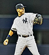 First Baseman Framed Prints - Derek Jeter Framed Print by Florian Rodarte