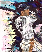 New York Yankees Paintings - Derek Jeter by Jeff Gomez