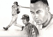 Athletes Drawings Framed Prints - Derek Jeter Framed Print by Kathleen Kelly Thompson