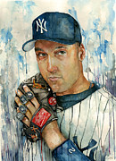 Yankees Mixed Media Framed Prints - Derek Jeter Framed Print by Michael  Pattison