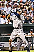 First Baseman Framed Prints - Derek Jeter Painting Framed Print by Florian Rodarte