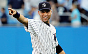 Derek Jeter Framed Prints - Derek Jeter smiling Framed Print by Sanely Great