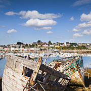 Old Houses Metal Prints - Derelict Fishing Boats Camaret sur Mer Brittany Metal Print by Colin and Linda McKie