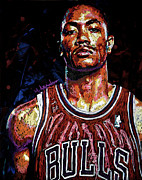Bulls. Chicago Framed Prints - Derrick Rose-2 Framed Print by Maria Arango
