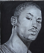 Chicago Bulls Drawings Prints - Derrick Rose Print by Aaron Balderas