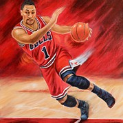 Nba Paintings - Derrick Rose by Angela  Villegas