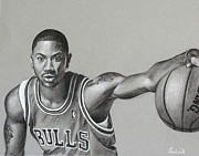 Nba Pastels Framed Prints - Derrick Rose - Chicago Bulls Framed Print by Prashant Shah