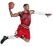 Dunk Photo Metal Prints - Derrick Rose Dunk Metal Print by Sanely Great