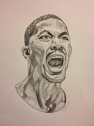 Chicago Bulls Drawings Prints - Derrick Rose Print by Dwayne Williams