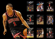 Chicago Bulls Metal Prints - Derrick Rose Metal Print by Joe Hamilton