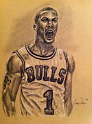 Chicago Bulls Drawings Prints - Derrick Rose Print by Larry Silver