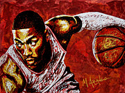 Bulls. Chicago Framed Prints - Derrick Rose Framed Print by Maria Arango