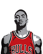 Player Mixed Media Metal Prints - Derrick Rose Metal Print by Mike Maher