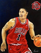 Chicago Bulls Framed Prints - Derrick Rose Pastel Portrait - Chicago Bulls Framed Print by Prashant Shah