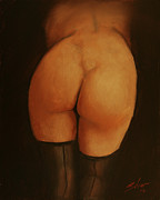Sepia Chalk Painting Prints - Derriere Print by John Silver
