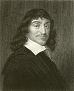 Famous Drawings Prints - Descartes Print by English School