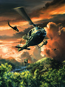 Helicopter Drawings Posters - Descent Into The A Shau Valley Poster by Randy Green