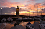Garda Posters - Desenzano del Garda Marina Old Lighthouse Sunrise Poster by Kiril Stanchev