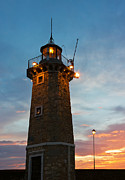 Garda Posters - Desenzano del Garda Old Lighthouse and a Lamp Post Sunrise Poster by Kiril Stanchev