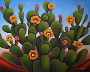 Cactus Paintings - Desert Beauty by Gayle Faucette Wisbon