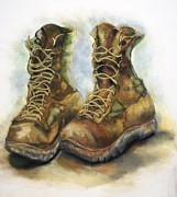 Military Pastels Metal Prints - Desert Boots Metal Print by Leisa Shannon Corbett