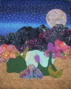 Mountains Tapestries - Textiles Posters - Desert Dreaming Poster by Ellen Levinson