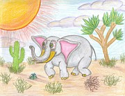 Joshua Tree Drawings Prints - Desert Elephant Heading South Print by Seth Miller