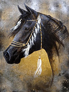 Black Stallion Paintings - Desert Jewel by Inge Manders
