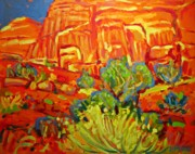 Roadrunner Painting Originals - Desert Landscape by Brian Simons