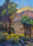 Canyons Paintings - Desert Marigolds at Andreas Canyon by Diane McClary