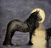 Reflection Harvest Posters - Desert Moonlight and Friesian Stallion Poster by Sandra Maddox