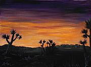 Landscape Posters Drawings Framed Prints - Desert Night Framed Print by Anastasiya Malakhova