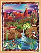Wren Painting Framed Prints - Desert Oasis Framed Print by Harriet Peck Taylor