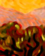 Abstract Landscape Art - Desert Olive Trees by Amy Vangsgard