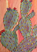 Marcia Weller-wenbert Metal Prints - Desert Orange Cactus 2 Metal Print by Marcia Weller-Wenbert