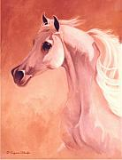 White Stallion Posters - Desert Prince Arabian Stallion Poster by Suzanne Schaefer
