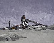 Route 66 Paintings - Desert Quarry by Steve Beaumont