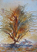 Quail Paintings - Desert Rest Stop by Ken McBride