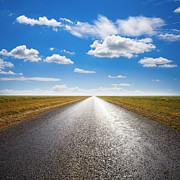 Blue Sky Art - Desert Road and Dramatic Sky by Colin and Linda McKie