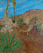 Ink Pyrography Framed Prints - Desert Roadrunner Framed Print by Mike Holder