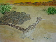 Roadrunner Painting Originals - Desert Scout by Kathy Mehaffey