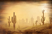 Outside Mixed Media Framed Prints - Desert Skyline Framed Print by Bedros Awak